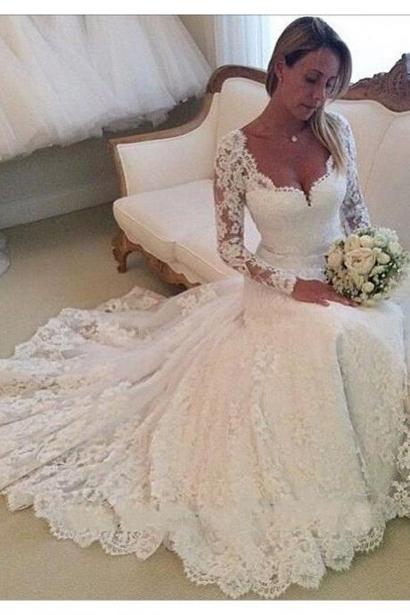 Long Wedding Dress, Lace Wedding Dress, Long Sleeves Wedding Dress, Elegant Bridal Dress, Inexpensive Wedding Dress, LB0005