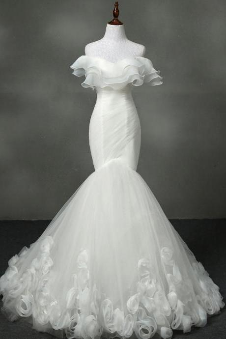 Off-Shoulder Tulle Flounce Mermaid Wedding Dress