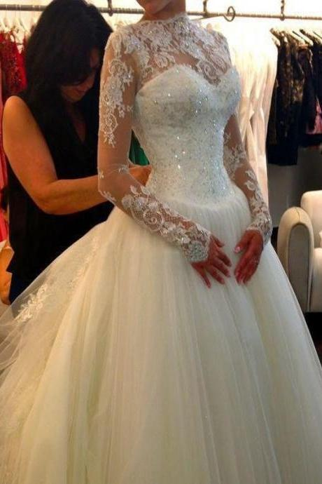 Long Wedding Dress, Charming Sequin Wedding Dress, Applique Wedding Dress, Full Sleeve Bridal Dress, LB0097