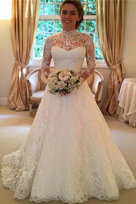 Long Wedding Dress, A-Line Elegant Wedding Dress, Lace Wedding Dress, Full Sleeve Bridal Dress, LB0118