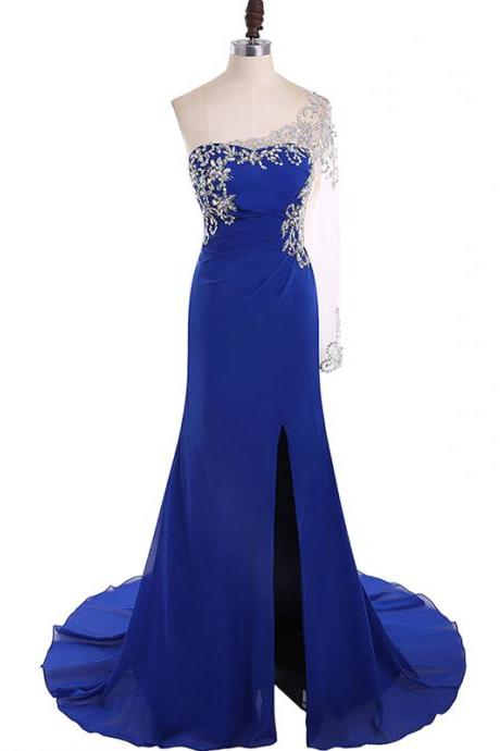 Long Prom Dresses, Sexy Prom Dresses, One-Shoulder Party Prom Dresses, Chiffon Prom Dresses, Beading Popular Prom Dresses,Prom Dresses Online, LB0142