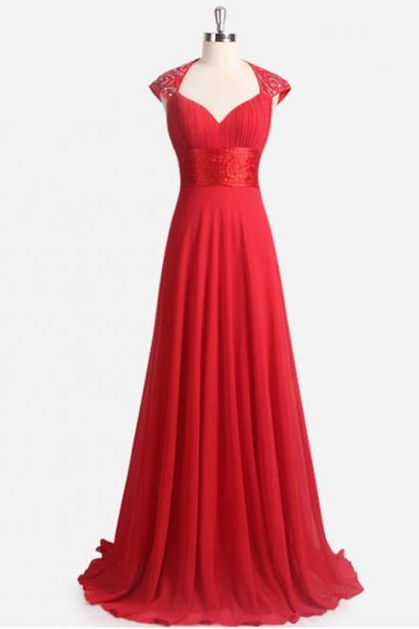 Custom Made Red Queen Anne A-Line Chiffon Bridesmaid Dress, Prom Dress
