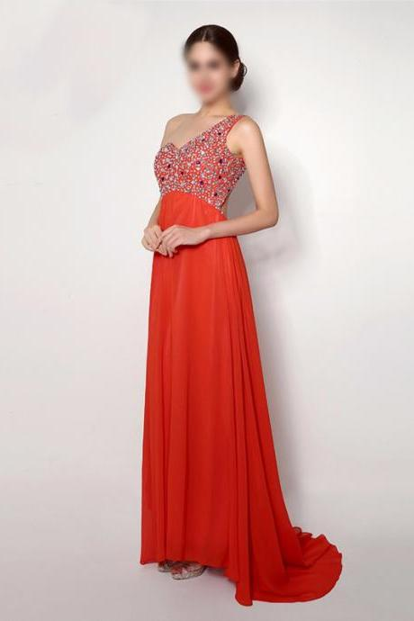 Custom Made Red One-Shoulder Neckline A-Line Chiffon Bridesmaid Dress with Crystal Beading