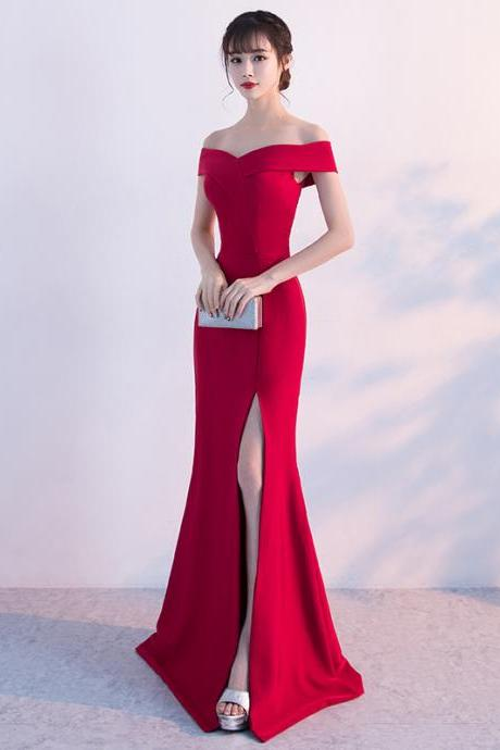 Long Prom Dresses, Off Shoulder Prom Dresses, Satin Party Prom Dresses, Side Split Evening Dresses, Sexy Prom Dresses, Red Prom Dresses Online, LB0333