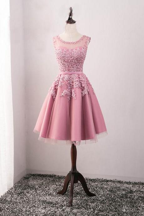 Short Homecoming Dress, Tulle Homecoming Dress, Sleeveless Homecoming Dress, Applique Junior School Dress, Lace Homecoming Dress, Beading Homecoming Dress, LB0364