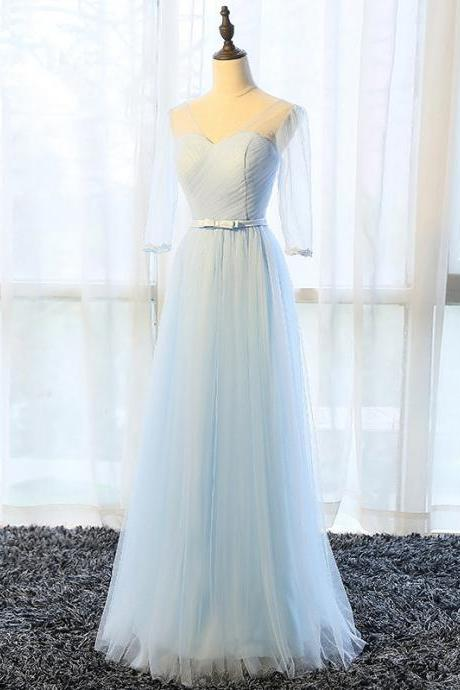 Long Bridesmaid Dress, Tulle Bridesmaid Dress, Half Sleeve Bridesmaid Dress, A-Line Dress for Wedding, V-Neck Bridesmaid Dress, Floor-Length Bridesmaid Dress, LB0368