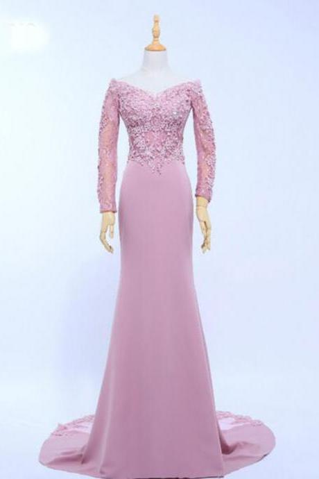 Lace Appliques Off-The-Shoulder Plunge V Long Sleeves Floor Length Chiffon Trumpet Bridesmaid Dress Featuring Sweep Train