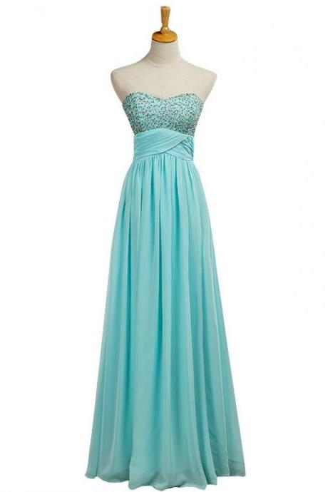 Beaded Embellished Sweetheart Floor Length Chiffon A-LIne Bridesmaid Dress