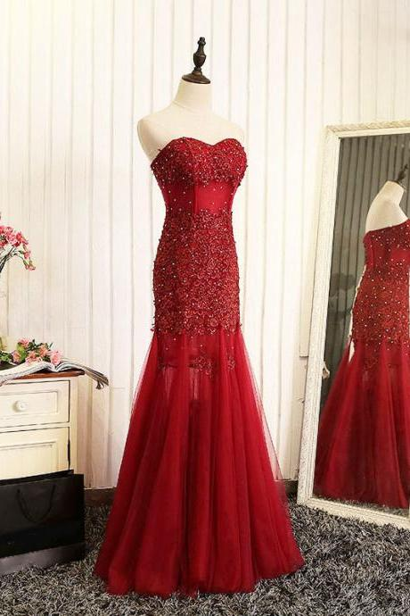 Red Prom Dresses, Tulle Prom Dresses, Sleeveless Prom Dresses, Lace Evening Dresses, Prom Dresses , Beading Prom Dresses, Floor-Length Prom Dress, LB0388