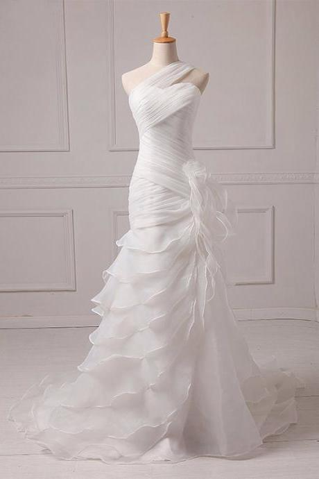 Long Wedding Dress, Organza Wedding Dress, Mermaid Bridal Dress, One-Shoulder Wedding Dress, Pleat Wedding Dress, Wedding Dress with Court Train, LB0410