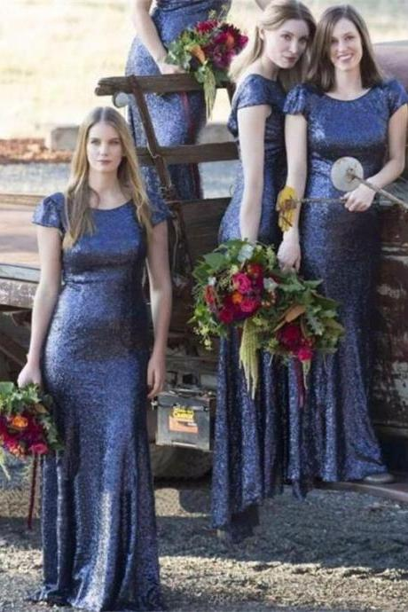 Custom Made Blue Shimmery Sequin Cap Sleeve Floor Length Mermaid Bridesmaid Dresses