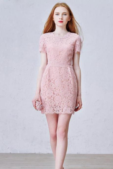 Short Homecoming Dress, Lace Homecoming Dress, 1/4 Sleeve Homecoming Dress, Pink Junior School Dress, Beautiful Graduation Dress, Above Knee Homecoming Dress, LB0501