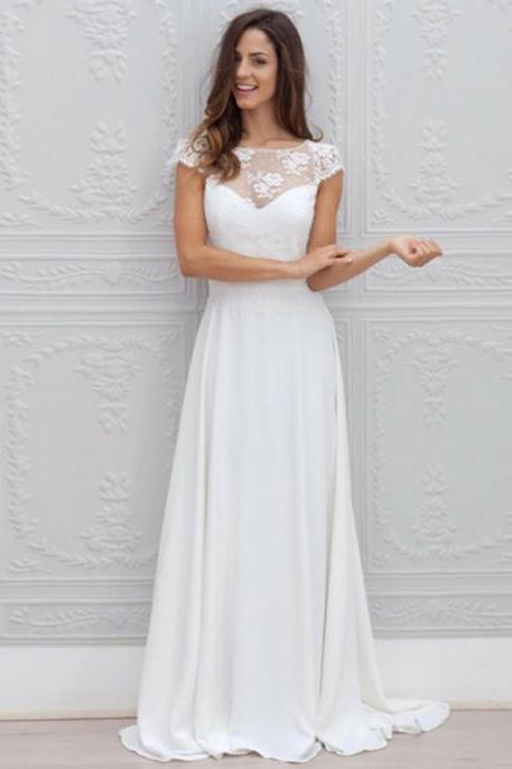 Long Wedding Dress, Lace Wedding Dress, Chiffon Bridal Dress, Cap Sleeve Wedding Dress, Open-Back Wedding Dress, Floor-Length Wedding Dress, A-Line Wedding Dress, LB0516
