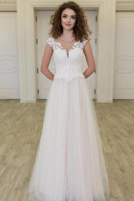 Long Wedding Dress, Tulle Wedding Dress, Vintage Bridal Dress, Sleeveless Wedding Dress, Lace Wedding Dress, Floor-Length Wedding Dress, A-Line Wedding Dress, LB0536
