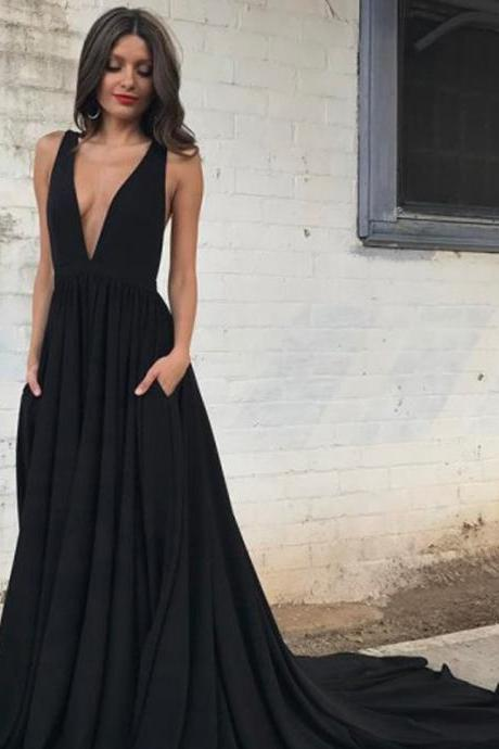 Long Prom Dresses, Chiffon Prom Dresses, A-Line Party Dresses, Black Evening Dresses, Deep V-Neck Prom Dress, Backless Prom Dress, Sexy Prom Dress, LB0573