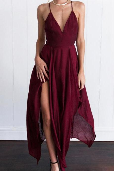 Long Prom Dresses, Chiffon Prom Dresses, Criss-Cross Straps Party Dresses, Backless Evening Dresses, V-Neck Prom Dress, Sexy Prom Dress, Cheap Prom Dress, LB0581