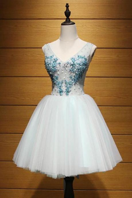 Short Homecoming Dress, Tulle Homecoming Dress, V-Neck Homecoming Dress, A-Line Junior School Dress, Beading Graduation Dress, Sequin Homecoming Dress, LB0633
