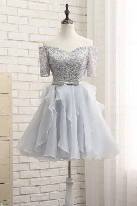 Short Homecoming Dress, Tulle Homecoming Dress, Lace Homecoming Dress, Off Shoulder Junior School Dress, Knee-Length Graduation Dress, Short Sleeve Homecoming Dress, LB0667