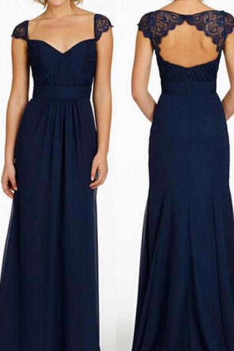 Custom Made Navy Blue Cap Sleeve Chiffon Bridesmaid Dress With Open Back, Prom Dress
