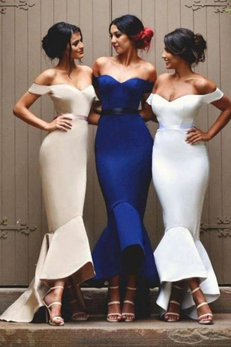Long Bridesmaid Dress, Off-Shoulder Bridesmaid Dress, Satin Bridesmaid Dress, Mermaid Dress for Wedding, High Low Bridesmaid Dress, Backless Bridesmaid Dress, LB0678