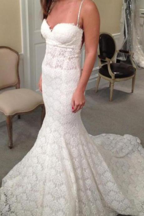 Lace Sweetheart Spaghetti Straps Floor Length Mermaid Wedding Dress Featuring Open Back and Train