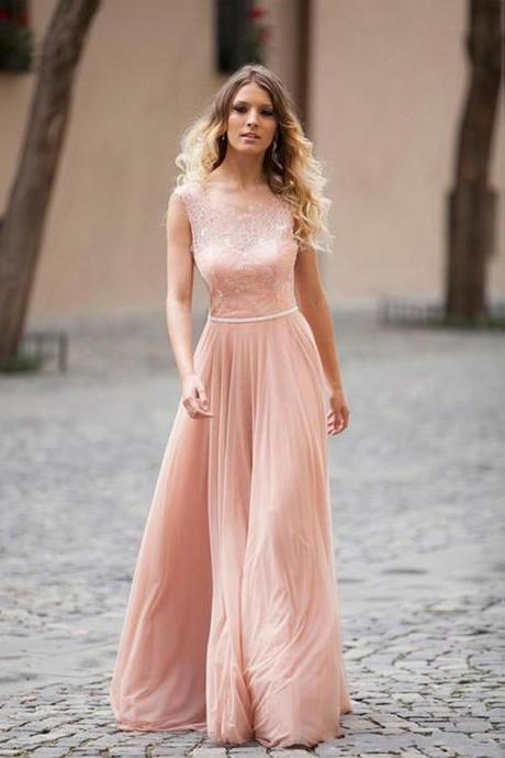 Custom Made Light Pink Lace Floor Length Chiffon Open Back Bridesmaid Dress Featuring Corset Bodice