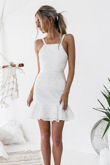 Short Homecoming Dress, Lace Homecoming Dress, Sleeveless Homecoming Dress, White Junior School Dress, Beautiful Homecoming Dress, Knee-Length Homecoming Dress, LB0731