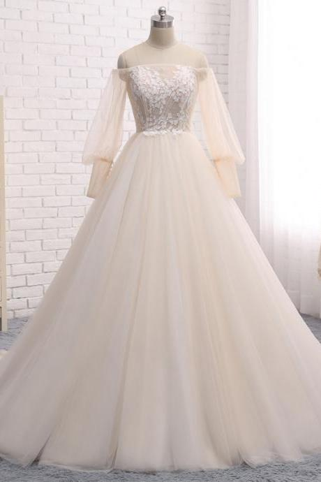 Long Wedding Dress, Long Sleeve Wedding Dress, Tulle Wedding Dress, Off Shoulder Bridal Dress, Charming Wedding Dress, Applique Bridal Dress, High Quality Wedding Dress, LB0732