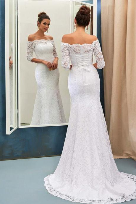 Long Wedding Dress, Gorgeous Wedding Dress, Off Shoulder Wedding Dress, Lace Bridal Dress, Mermaid Wedding Dress, Custom Made Wedding Dress, LB0744