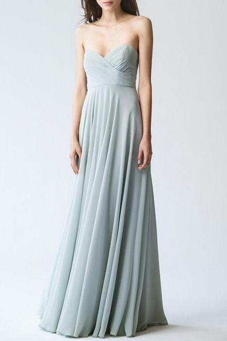Ruched Sweetheart Chiffon Floor Length Bridesmaid Dress, Formal Dress