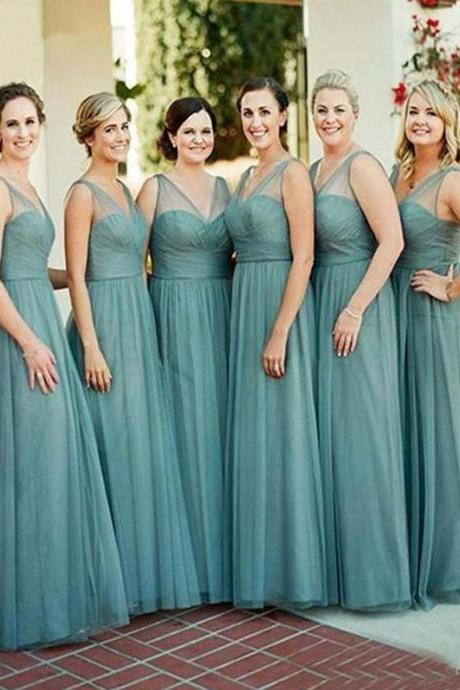 Long Bridesmaid Dress, Tulle Bridesmaid Dress, Sleeveless Bridesmaid Dress, Dress for Wedding, Charming Bridesmaid Dress, Floor-Length Bridesmaid Dress, LB0782