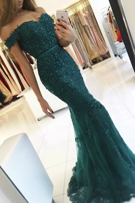 Long Prom Dress, Tulle Prom Dress, Off Shoulder Backless Prom Dress, Applique Prom Dress, Beading Prom Dress, Floor-Length Party Dresses, LB0785