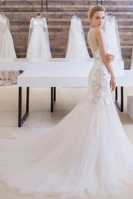 Long Wedding Dress, Sleeveless Wedding Dress, Tulle Wedding Dress, Mermaid Bridal Dress, Gorgeous Wedding Dress, Lace Bridal Dress, Open-Back Wedding Dress, LB0796