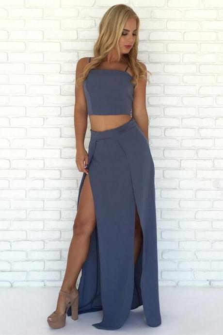 Long Prom Dresses, Jersey Prom Dresses, Two Pieces Prom Dresses, Spaghetti Straps Prom Dresses, Slit Prom Dress, Floor-length Prom Dress, LB0842