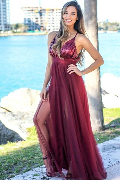 Spaghetti Straps Backless Prom Dresses, Sexy Deep V-Neck Sequin Prom Dresses, Tulle Slit Prom Dresses, LB334