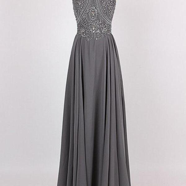 Custom Made Strappy Halter Neck Chiffon Long Bridesmaid Dress with Beading
