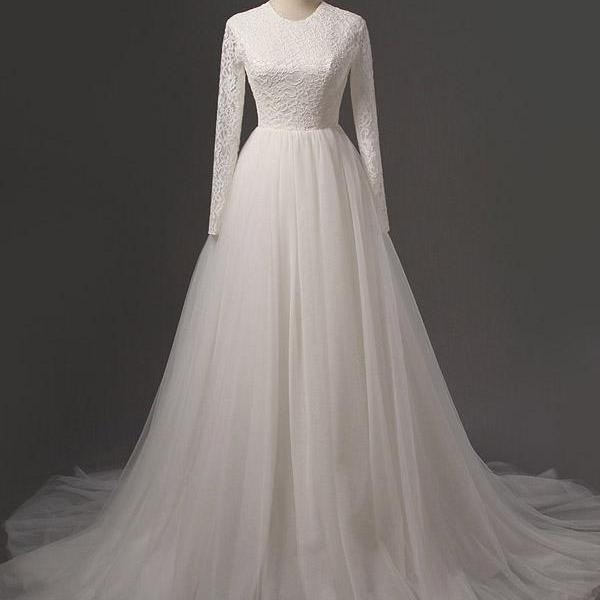 Lace Crew Neck Long Sleeves Floor Length Tulle Wedding Gown Featuring Train