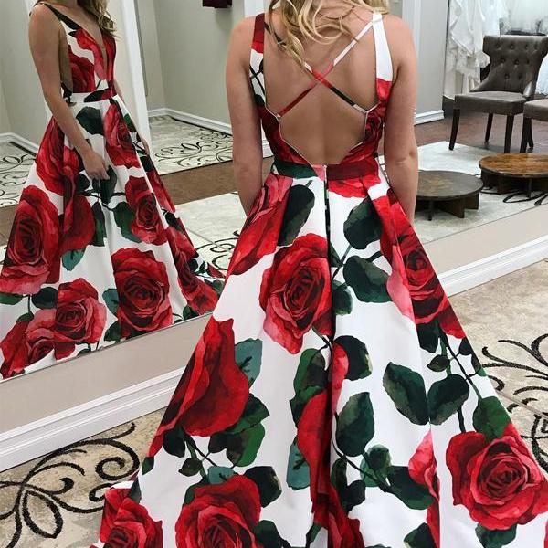 Printed V-Neck Prom Dresses, A-Line Prom Dresses, Sexy Backless Prom Dresses, LB444